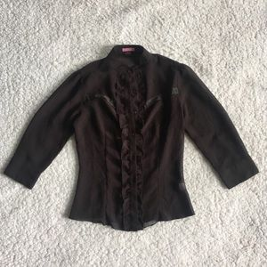 Lola Button Down Ruffled Long Sleeved Shirt S